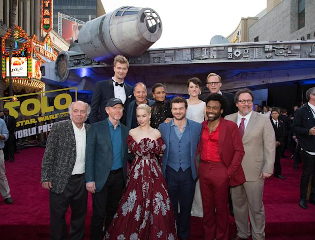 Clockwise from top Joonas Suotamo, Woody Harrelson, Thandie Newton, Phoebe Waller-Bridge, Paul Bettany, Jon Favreau, Donald Glover, Alden Ehrenreich, Emilia Clarke, Ron Howard, and Clint Howard. (Photo: Lucasfilm/Disney)