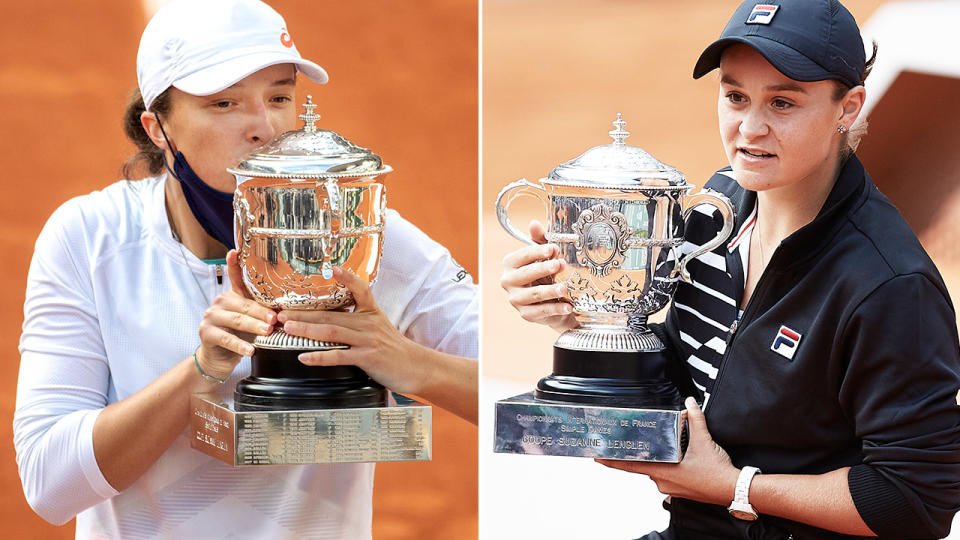 Iga Swiatek and Ash Barty, pictured here after winning the French Open titles in 2020 and 2019.