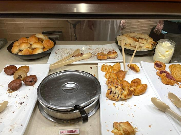The breakfast pastry section toward the end of the morning.