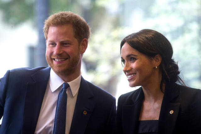 Harry and Meghan have continued to use their former coronet logo. (Getty Images)