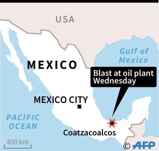 Map of Mexico locating Coatzacoalcos, where a massive explosion at an oil facility has killed at least 13 workers (AFP Photo/)
