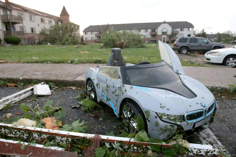 A child's toy car sits among debris from a tornado that touched down in Trotwood, Ohio. (Photo: Aaron Josefczyk/Reuters)