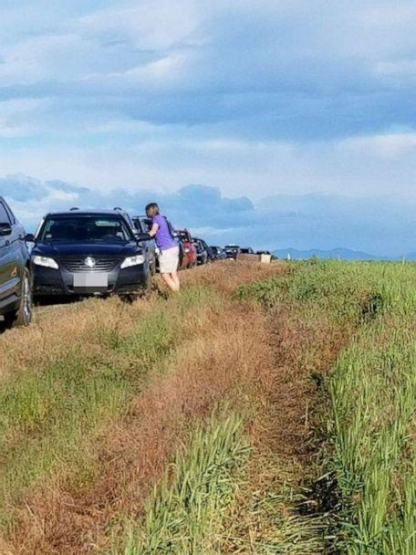 PHOTO: Dozens of Colorado drivers who followed a Google Maps detour found themselves in a muddy traffic jam on June 23, 2019. (Connie Monsees)