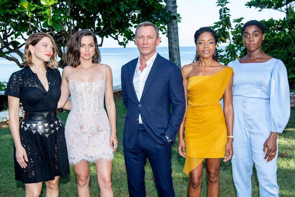 """MONTEGO BAY, JAMAICA - APRIL 25: (L-R) Cast members Léa Seydoux, Ana de Armas, Daniel Craig, Naomie Harris and Lashana Lynch attend the """"Bond 25"""" Film Launch at Ian Fleming's Home """"GoldenEye"""", on April 25, 2019 in Montego Bay, Jamaica. (Photo by Roy Rochlin/Getty Images for Metro Goldwyn Mayer Pictures)"""