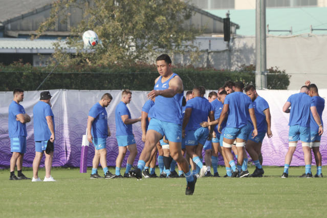 New Zealand All Blacks players train during their captain's run prior to the Rugby World Cup in Tokyo, Friday, Sept. 20, 2019. New Zealand will meet with South Africa on Saturday. (AP Photo/Koji Sasahara)