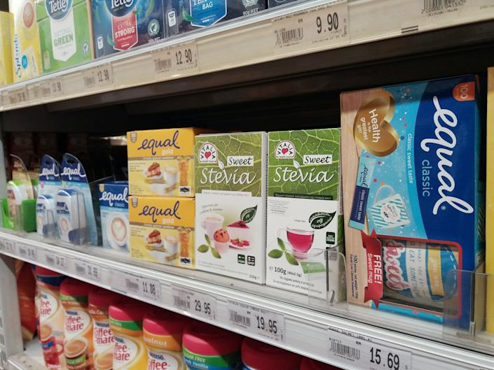 """<span class=""""caption"""">Many artificial sweeteners are available at the grocery store.</span> <span class=""""attribution""""><a class=""""link rapid-noclick-resp"""" href=""""https://www.shutterstock.com/image-photo/subang-jaya-malaysia-23rd-december-2017-781850755?studio=1"""" rel=""""nofollow noopener"""" target=""""_blank"""" data-ylk=""""slk:Zety Akhzar/Shutterstock.com"""">Zety Akhzar/Shutterstock.com</a></span>"""