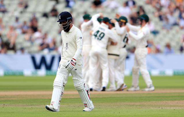 England's Moeen Ali reacts after his dismissal during day five of the Ashes Test match at Edgbaston, Birmingham. (Photo by Mike Egerton/PA Images via Getty Images)