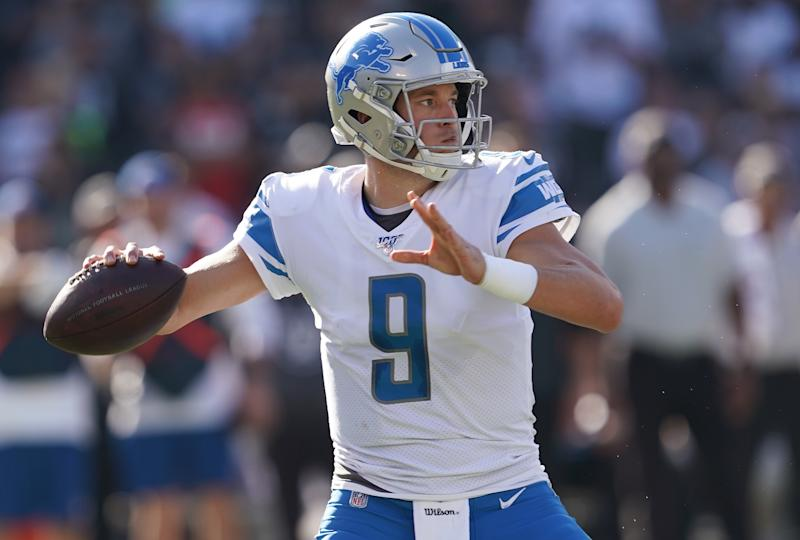 OAKLAND, CALIFORNIA - NOVEMBER 03: Matthew Stafford #9 of the Detroit Lions drops back to pass against the Oakland Raiders during the second quarter of an NFL football game at RingCentral Coliseum on November 03, 2019 in Oakland, California. (Photo by Thearon W. Henderson/Getty Images)