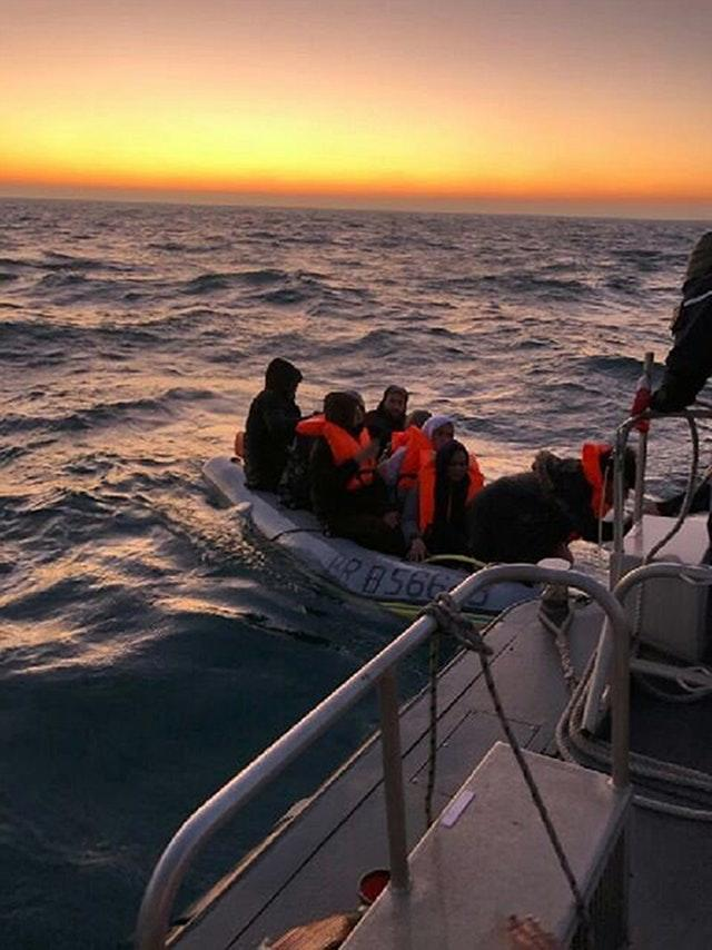 Migrants being rescued by French Authorities from the Channel