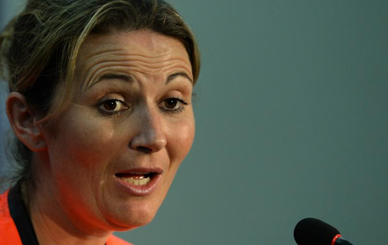 England women's cricket captain Charlotte Edwards addresses a press conference at The Sher-e-Bangla National Cricket Stadium in Dhaka on April 5, 2014