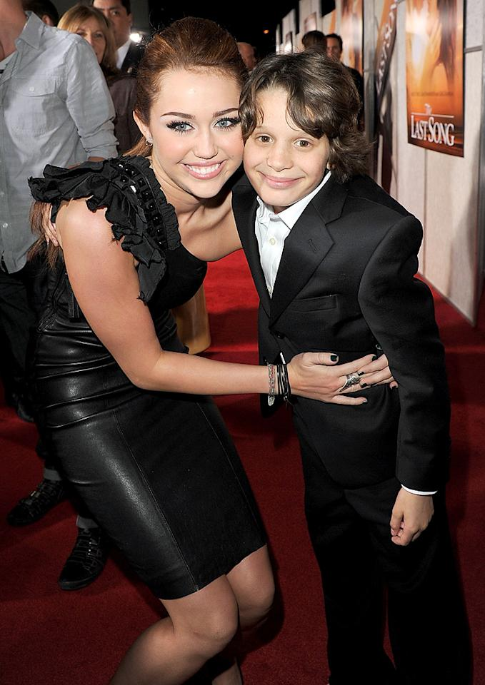 """<a href=""""http://movies.yahoo.com/movie/contributor/1809849015"""">Miley Cyrus</a> and <a href=""""http://movies.yahoo.com/movie/contributor/1809041976"""">Bobby Coleman</a> at the Los Angeles premiere of <a href=""""http://movies.yahoo.com/movie/1810098775/info"""">The Last Song</a> - 03/25/2010"""
