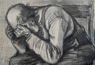 """Detail of Study for """"Worn Out"""", a drawing by Dutch master Vincent van Gogh, dated Nov. 1882, on public display for the first time at the Van Gogh Museum in Amsterdam, Netherlands, Thursday, Sept. 16, 2021. (AP Photo/Peter Dejong)"""