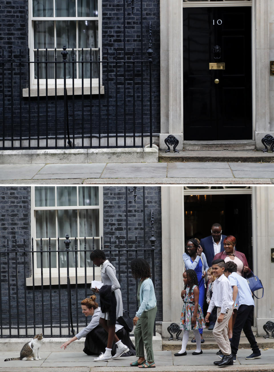 A combo of images showing school children approaching Downing Street chief mouser Larry the cat, as they leave after a scheduled meeting with Britain's Prime Minister Boris Johnson at 10 Downing Street in London on Friday, Aug. 30, 2019 and the empty scene taken from the same angle on Wednesday, April 1, 2020. (AP Photo/Frank Augstein)