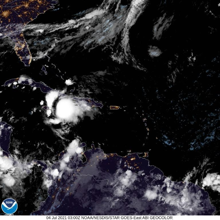 This satellite image from July 4, 2021 shows Tropical Storm Elsa near the southern coast of Haiti