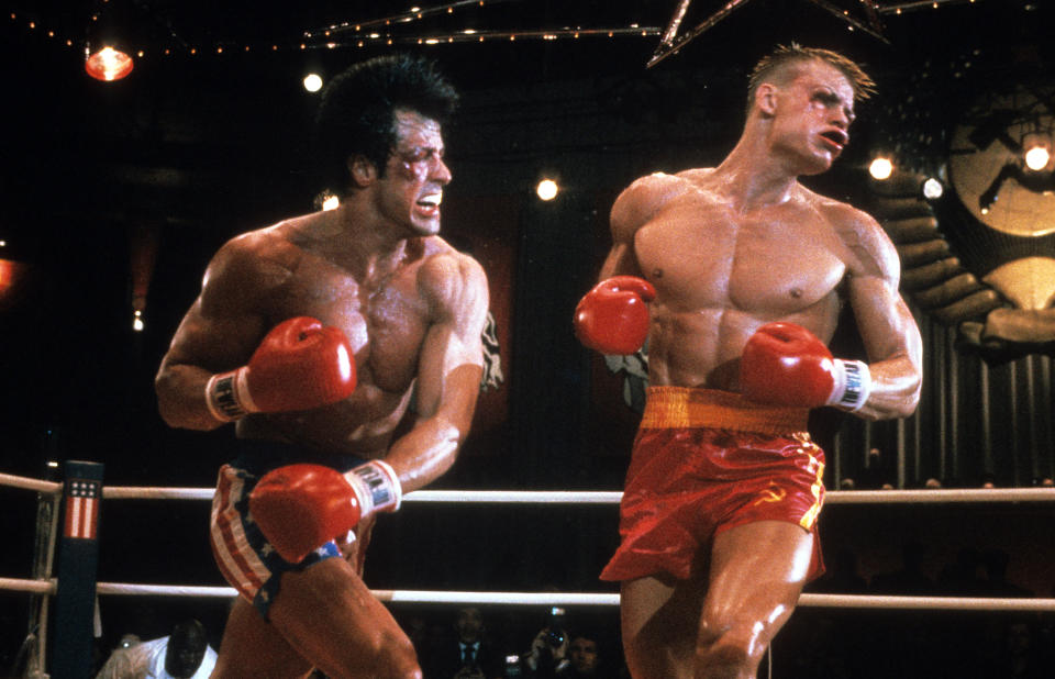 Sylvester Stallone punches Dolph Lundgren in a scene from the film 'Rocky IV', 1985. (Photo by United Artists/Getty Images)