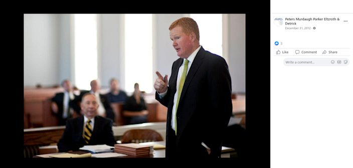 Alex Murdaugh in a courtroom on the Facebook page of the law firm Peters Murdaugh Parker Eltzroth & Detrick.