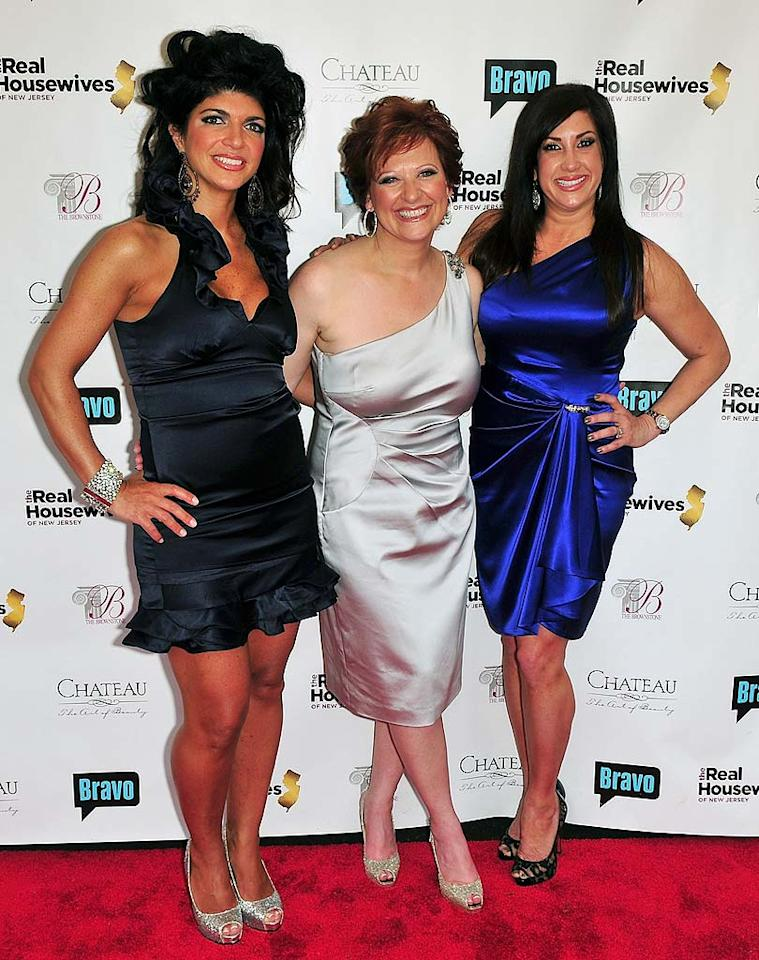 """Teresa Giudice, Caroline Manzo, and Jacqueline Laurita hit the red carpet at the premiere party for season two of """"The Real Housewives of New Jersey."""" Brian Killian/<a href=""""http://www.wireimage.com"""" target=""""new"""">WireImage.com</a> - May 3, 2010"""
