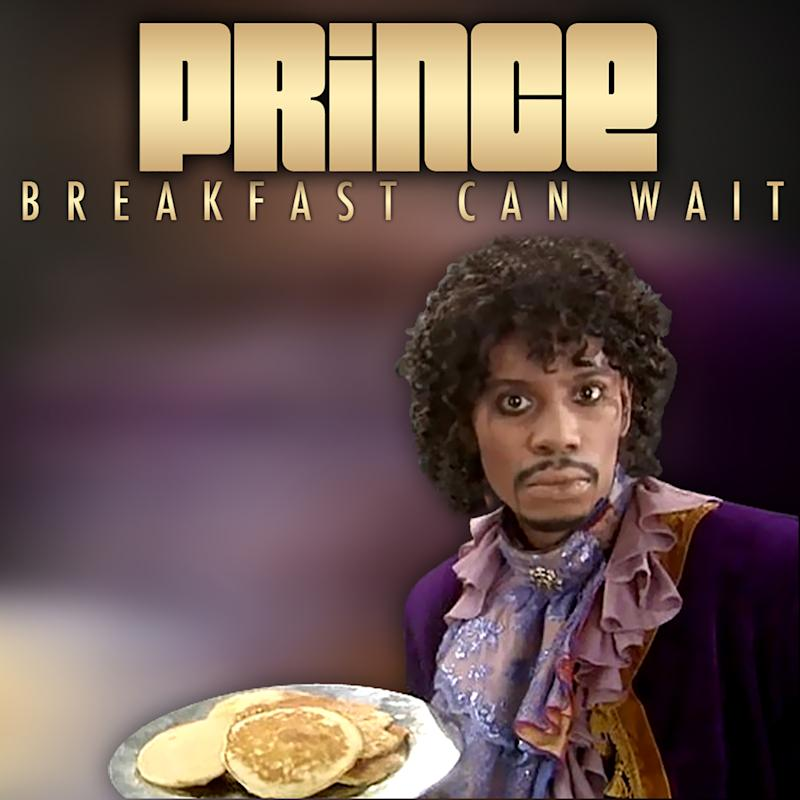 "This image released by NPG Records shows the cover art for Prince's new song ""Breakfast Can Wait,"" showing comedian Dave Chapelle dressed as Prince. The song is being released through his new distribution deal with the independent Kobalt Label Services. He's working on a new album that's set to be titled, ""Plectrum Electrum."" (AP Photo/NPG Records)"