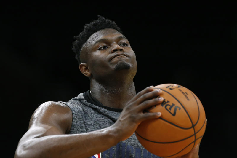 New Orleans Pelicans' Zion Williamson practices before the team's NBA basketball game against the Boston Celtics on Saturday, Jan. 11, 2020, in Boston. (AP Photo/Winslow Townson)