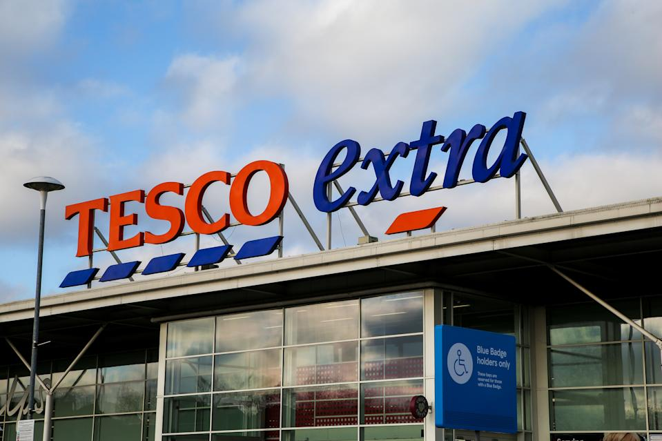 A view of Tesco Extra logo outside its store in north London. Thursday 9 Jan 2020 Tesco plc will publish its third quarter and Christmas trading statement. (Photo by Dinendra Haria / SOPA Images/Sipa USA)