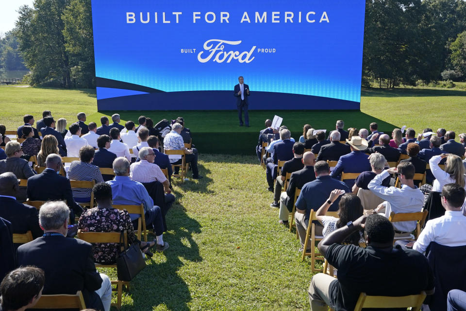 Ford Executive Chairman Bill Ford speaks during a presentation on the planned factory to build electric F-Series trucks and the batteries to power future electric Ford and Lincoln vehicles Tuesday, Sept. 28, 2021, in Memphis, Tenn. The Tennessee plant is to be built near Stanton, Tenn. (AP Photo/Mark Humphrey)