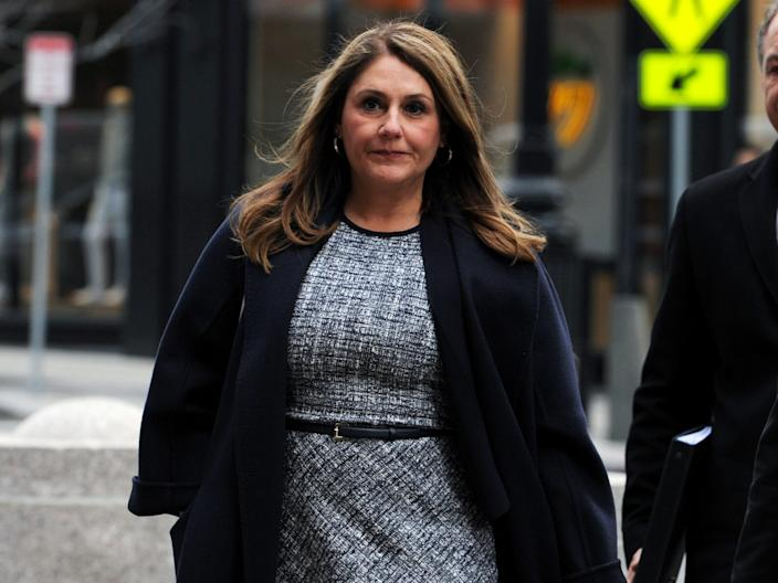 Michelle Janavs, whose family's company developed the microwavable snack Hot Pockets, arrives at the federal courthouse before being sentenced in connection with a nationwide college admissions cheating scheme..JPG