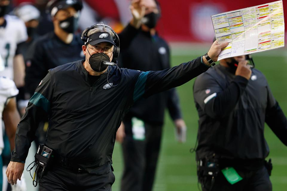 Doug Pederson with the play sheet.