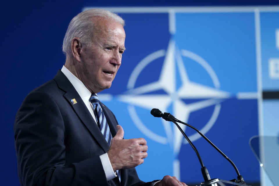 President Joe Biden speaks during a news conference at the NATO summit at NATO headquarters in Brussels, Monday, June 14, 2021. (Patrick Semansky/AP)