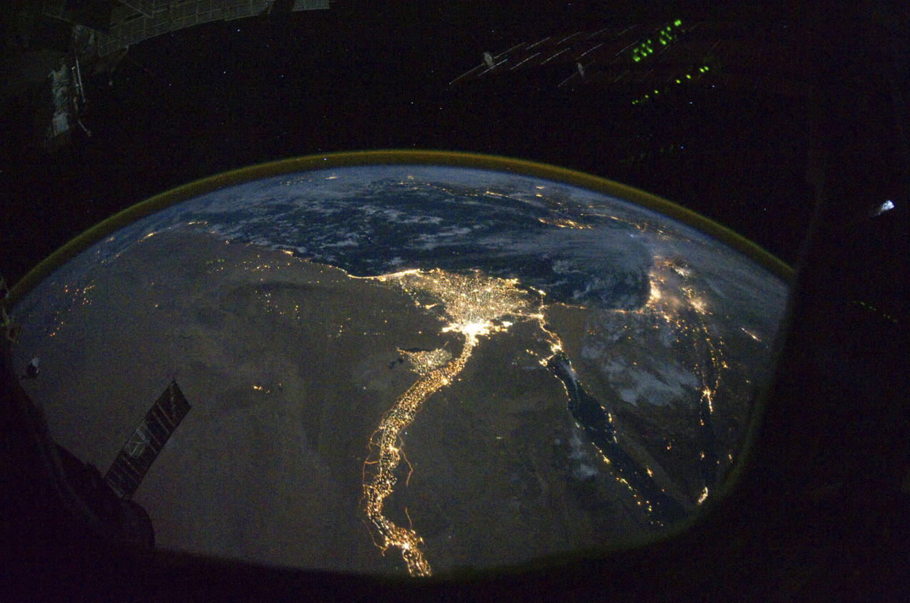 A night time photograph made by an International Space Station Expedition 25 crewmember shows the bright lights of Cairo and Alexandria, Egypt on the Mediterranean coast as well as the Nile River and its delta which stand out clearly in this image released by NASA and taken October 28, 2010.   REUTERS/NASA  (UNITED STATES - Tags: SCI TECH) FOR EDITORIAL USE ONLY. NOT FOR SALE FOR MARKETING OR ADVERTISING CAMPAIGNS. THIS IMAGE HAS BEEN SUPPLIED BY A THIRD PARTY. IT IS DISTRIBUTED, EXACTLY AS RECEIVED BY REUTERS, AS A SERVICE TO CLIENTS