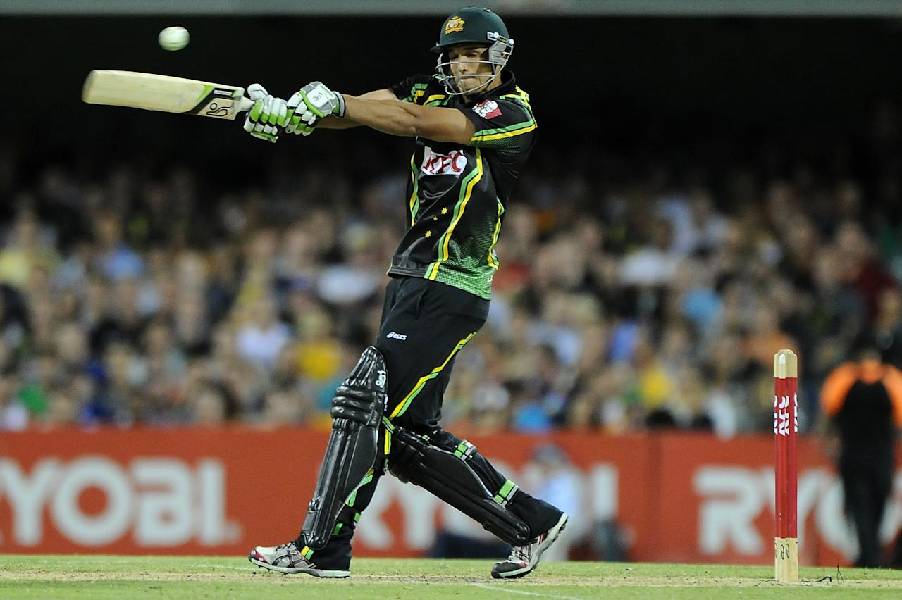 BRISBANE, AUSTRALIA - FEBRUARY 13:  Nathan Coulter-Nile of Australia bats during the International Twenty20 match between Australia and the West Indies at The Gabba on February 13, 2013 in Brisbane, Australia.  (Photo by Matt Roberts/Getty Images)
