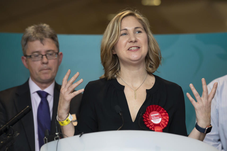 CARDIFF, DECEMBER 13: Anna McMorrin is re-elected as MP for Cardiff North for the Labour Party at the Cardiff City stadium on December 13, 2019 in Cardiff, Wales. The current Conservative Prime Minister Boris Johnson called the first UK winter election for nearly a century in an attempt to gain a working majority to break the parliamentary deadlock over Brexit. The election results from across the country are being counted overnight and an overall result is expected in the early hours of Friday morning. (Photo by Matthew Horwood/Getty Images)
