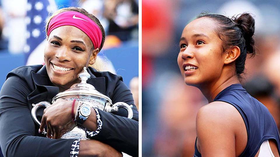 Leylah Fernandez (pictured right) smiling after her quarter-final win and (pictured left) Serena Williams hugging the US Open trophy.