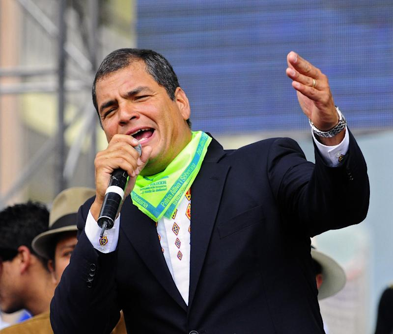 Ecuadorean President Rafael Correa speaks during a rally in Ambato, on January 16, 2010