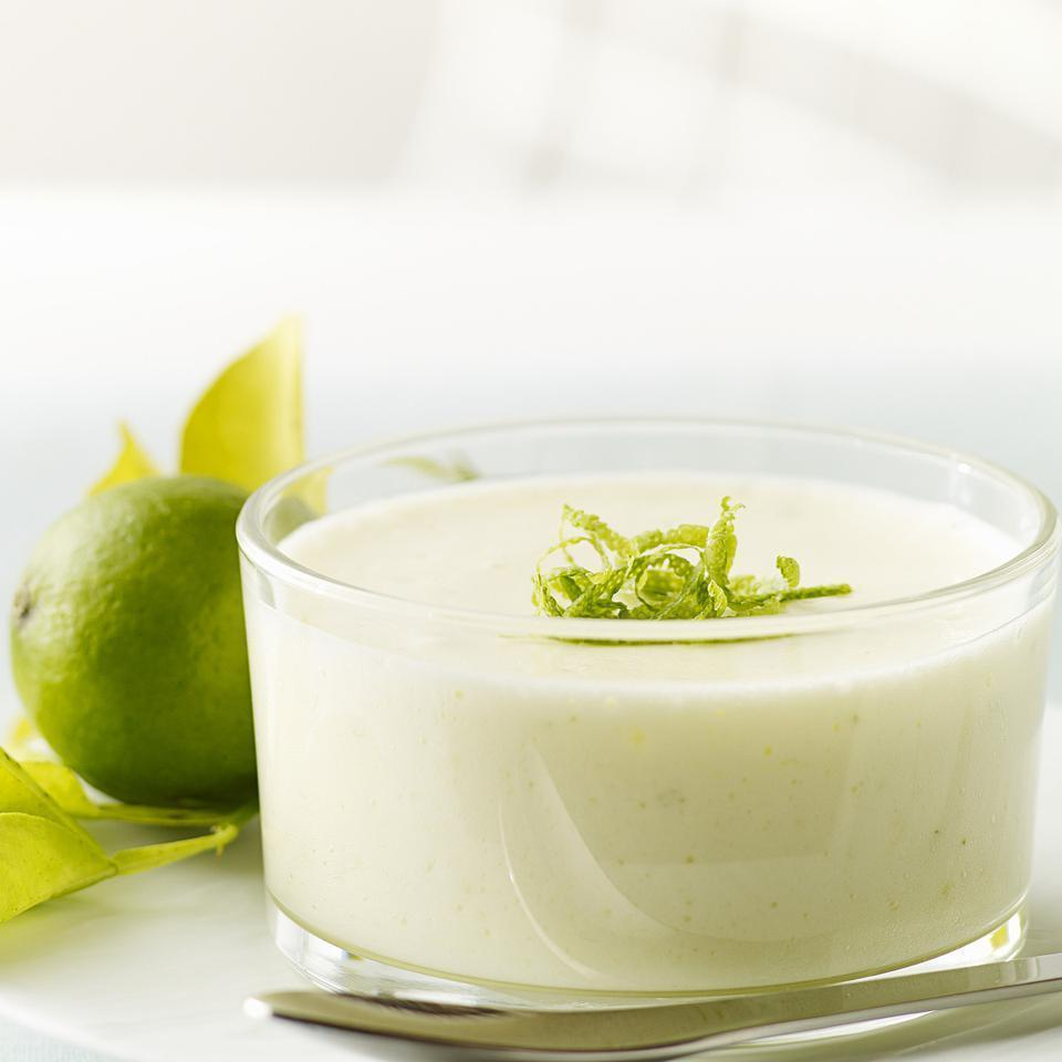 <p>This refreshing chilled Key lime mousse is a perfect union of cream and foam, tangy lime and soft sweet custard. The method is simple but a little unusual--you make a custard with fresh Key lime juice rather than milk or cream. Key limes, which are about the size of a Ping-Pong ball, are wonderfully fragrant and more acidic than regular limes. They are available all year at well-stocked supermarkets. If you can't find them, by all means use regular limes.</p>