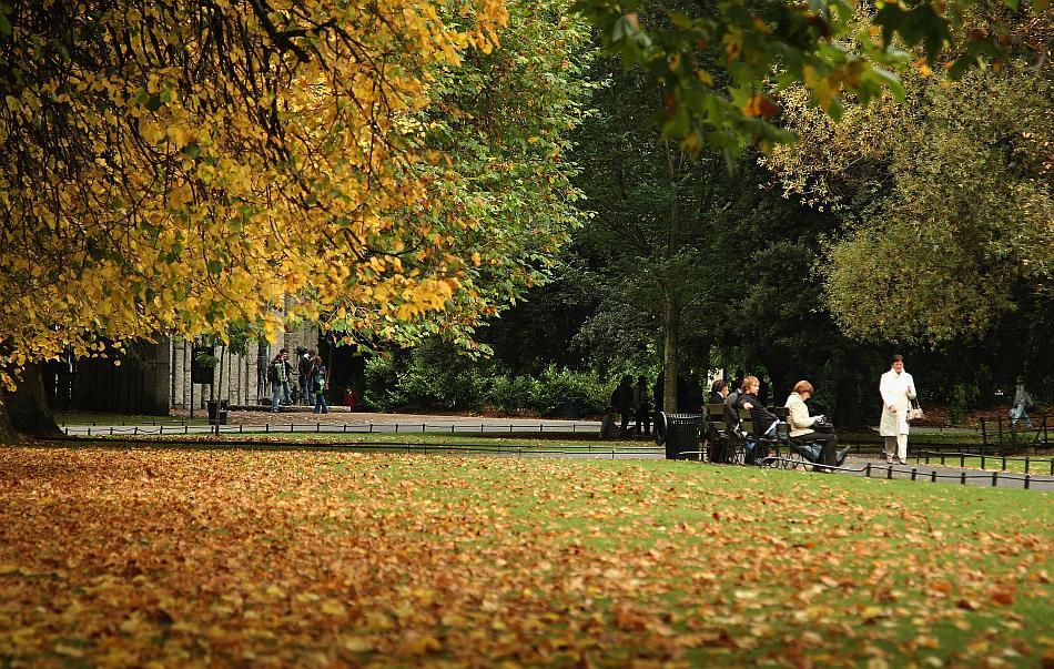 People walk through the autumn leaves in St Stephen's Green in Dublin, Ireland.