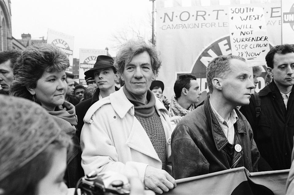 Michael Cashman and Ian McKellen at an LGBT+ protest march in 1988