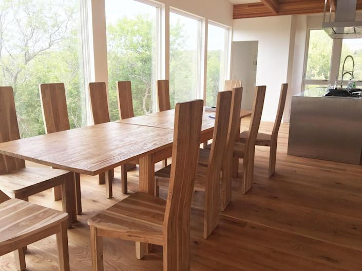 """<p>The flooring is the same throughout every room in the house, even the kitchen and baths. """"It's wide plank and it's from <a href=""""http://bit.ly/1KFOtd1"""" rel=""""nofollow noopener"""" target=""""_blank"""" data-ylk=""""slk:Mountain Lumber"""" class=""""link rapid-noclick-resp"""">Mountain Lumber</a>, which is a totally sustainable company that happens to be owned by some friends of ours from Sweden who are super socially responsible,"""" Laura says. """"That is every inch of flooring in the entire home.""""<br></p>"""