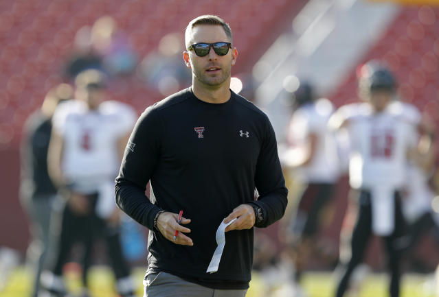 Kliff Kingsbury's time with USC will be short, as he's headed to Arizona to become the head coach of the Cardinals. (AP)