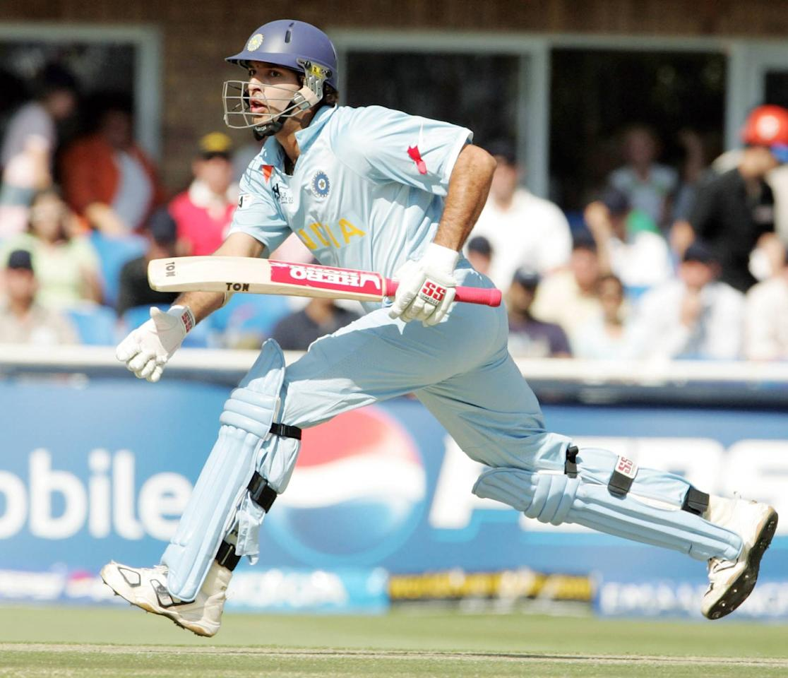 JOHANNESBURG, SOUTH AFRICA - SEPTEMBER 24: Youvraj Singh in action during to the final match of the ICC Twenty20 World Cup between Pakistan and India held at the Wanderers Cricket Stadium on September 24, 2007 in Johannesburg, South Africa. (Photo by Duif du Toit/Gallo Images/Getty Images)