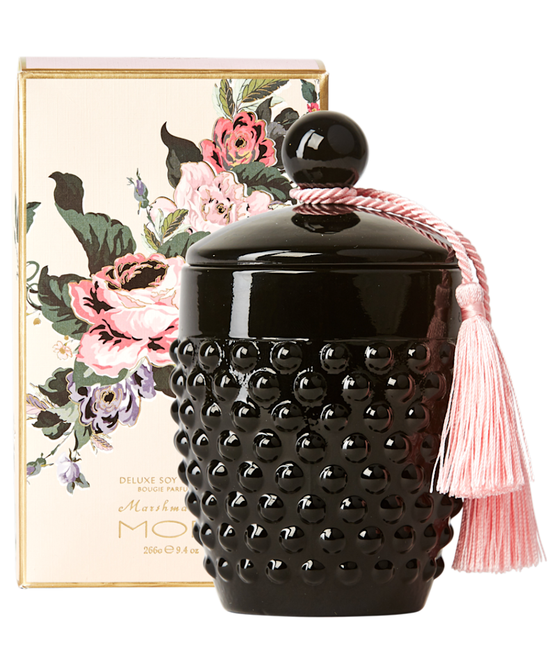 MOR's Marshmallow Soy Candle is embellished with a Marshmallow tassel. Photo: MOR