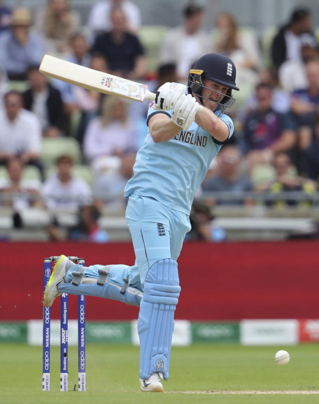 England's captain Eoin Morgan plays a shot during the Cricket World Cup semi-final match between Australia and England at Edgbaston in Birmingham, England, Thursday, July 11, 2019. (AP Photo/Rui Vieira)