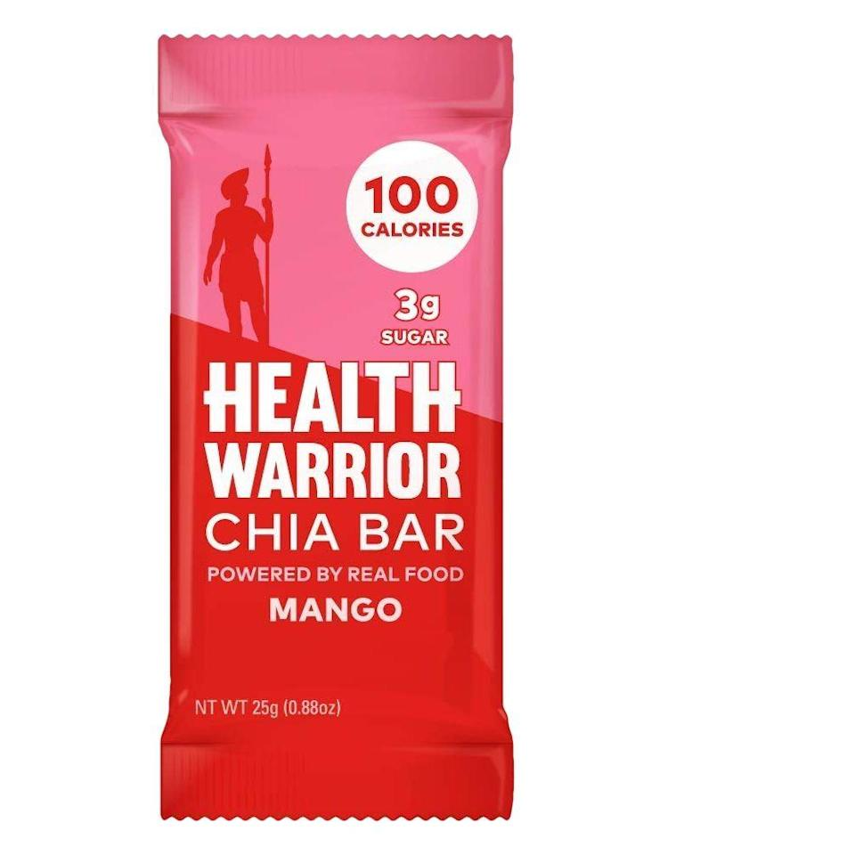 """<p>It's not easy to stay hydrated on a road trip, but a snack like chia bars can help, says Largeman-Roth. Try these super satisfying mango-flavored chia bars, which have just 100 calories and three grams of sugar. </p><p><a class=""""link rapid-noclick-resp"""" href=""""https://www.amazon.com/HEALTH-WARRIOR-Mango-Gluten-Vegan/dp/B00IDXT04S?tag=syn-yahoo-20&ascsubtag=%5Bartid%7C10072.g.27072697%5Bsrc%7Cyahoo-us"""" rel=""""nofollow noopener"""" target=""""_blank"""" data-ylk=""""slk:SHOP NOW"""">SHOP NOW</a></p>"""