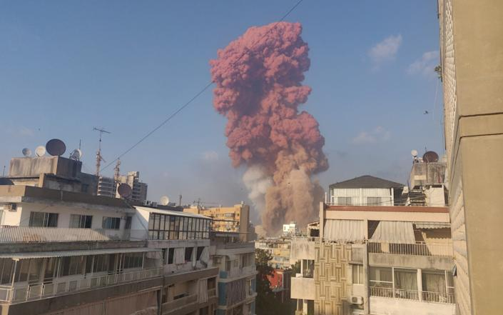 Smoke is seen after an explosion in Beirut, Lebanon August 4, 2020, in this picture obtained from social media. - Talal Traboulsi via Reuters
