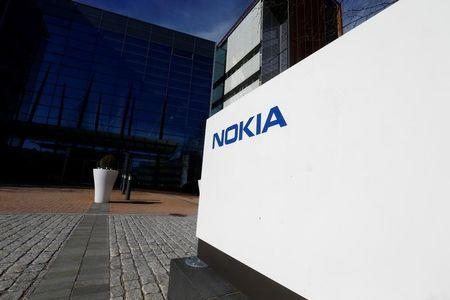 A Nokia logo is seen at the company's headquarters in Espoo