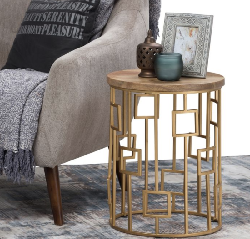 Simpli Home Rhys Wood & Metal Accent Table. (Photo: Bed Bad & Beyond)