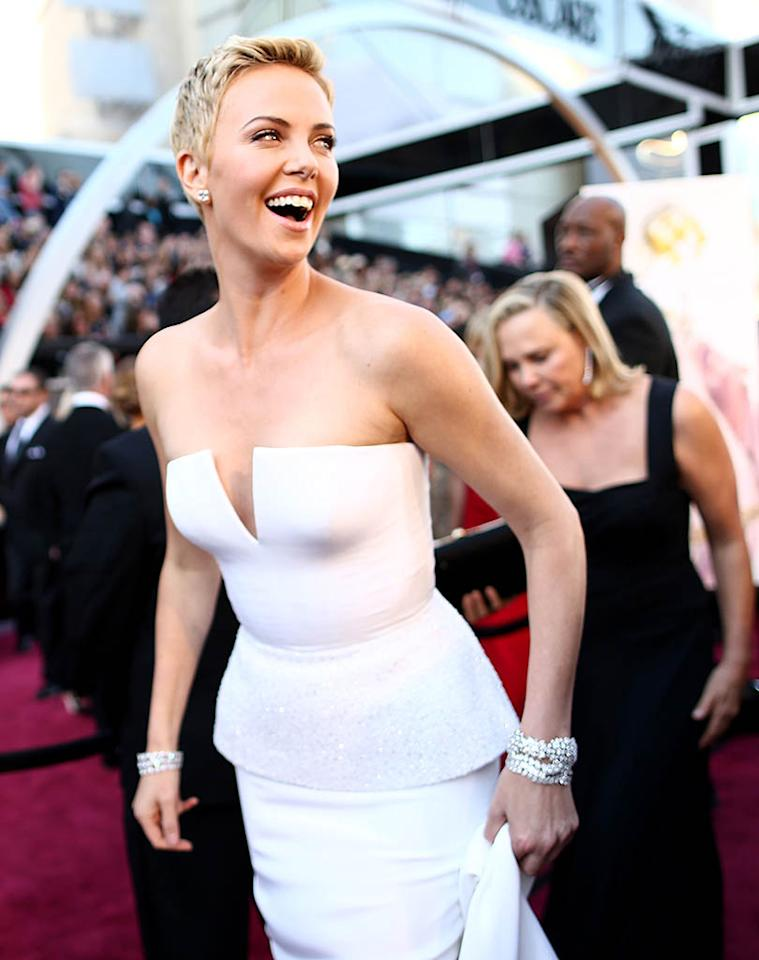 HOLLYWOOD, CA - FEBRUARY 24:  Actress Charlize Theron arrives at the Oscars held at Hollywood & Highland Center on February 24, 2013 in Hollywood, California.  (Photo by Christopher Polk/Getty Images)