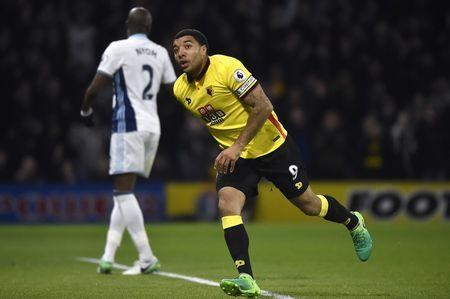Britain Football Soccer - Watford v West Bromwich Albion - Premier League - Vicarage Road - 4/4/17 Watford's Troy Deeney celebrates scoring their second goal Reuters / Hannah McKay Livepic