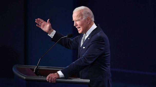 PHOTO: Democratic Presidential candidate and former Vice President Joe Biden speaks during the first presidential debate in Cleveland, Sept. 29, 2020. (Saul Loeb/AFP via Getty Images)