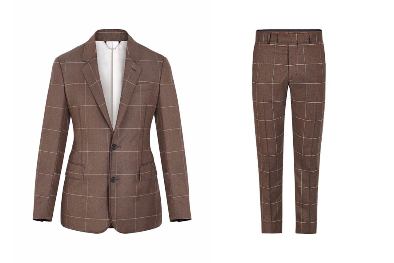 """<p>*Jacket, $3,000, buy now at <a rel=""""nofollow"""" href=""""http://us.louisvuitton.com/eng-us/products/pont-neuf-notch-lapel-jacket-nvprod230041v?mbid=synd_yahoostyle#1A2QBN"""">louisvuitton.com</a> Pants, $980, buy now at <a rel=""""nofollow"""" href=""""http://us.louisvuitton.com/eng-us/products/classic-zig-zag-trousers-nvprod280025v?mbid=synd_yahoostyle#1A2QGL"""">louisvuitton.com</a>*</p>"""