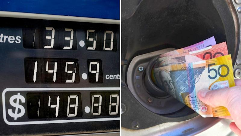 A petrol bowser display on the left, and Australian money being pushed into a car petrol inlet.